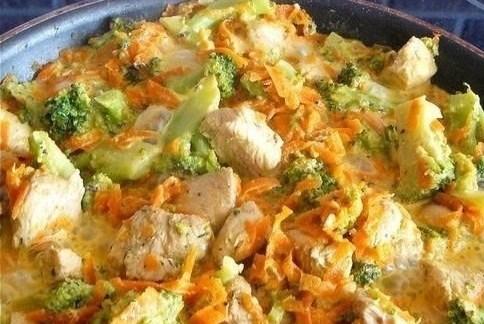 картошка с куриным мясом и брокколи в духовке