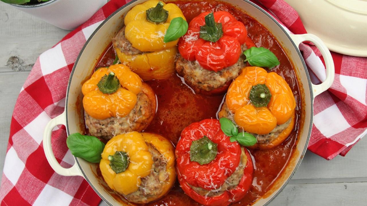 Фаршированные половинки перцы рецепт пошагово