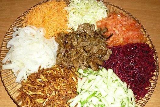 Салаты с капустой и мясом