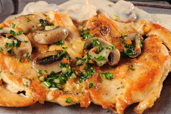Рецепт куриного филе с шампиньонами