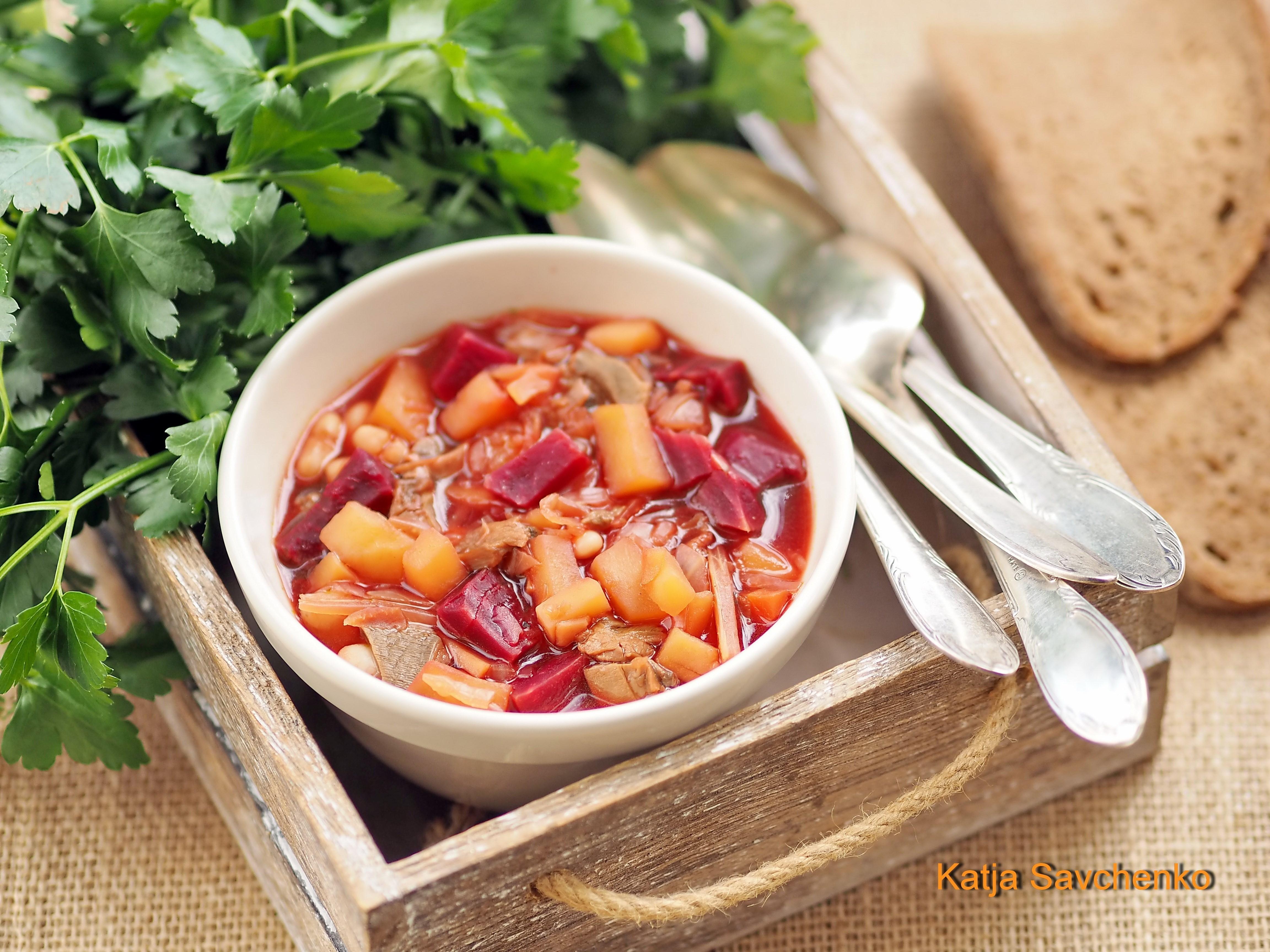 Пошаговый рецепт суп с грибами и фасолью