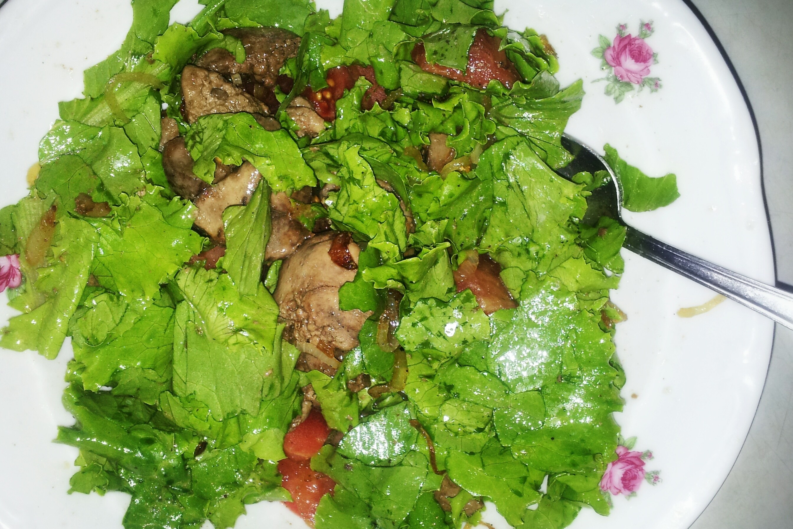 Горячий салат из печени