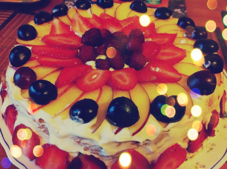 Торт со взбитыми сливками и фруктами рецепт