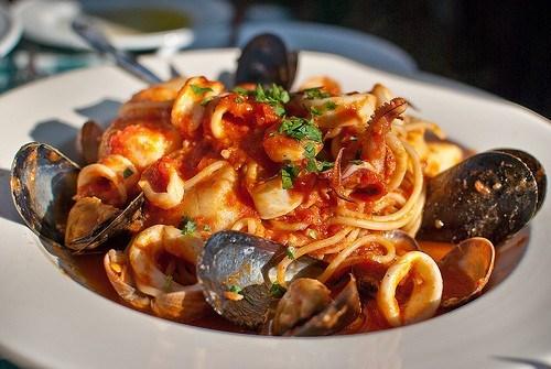 Макароны с морепродуктами рецепт
