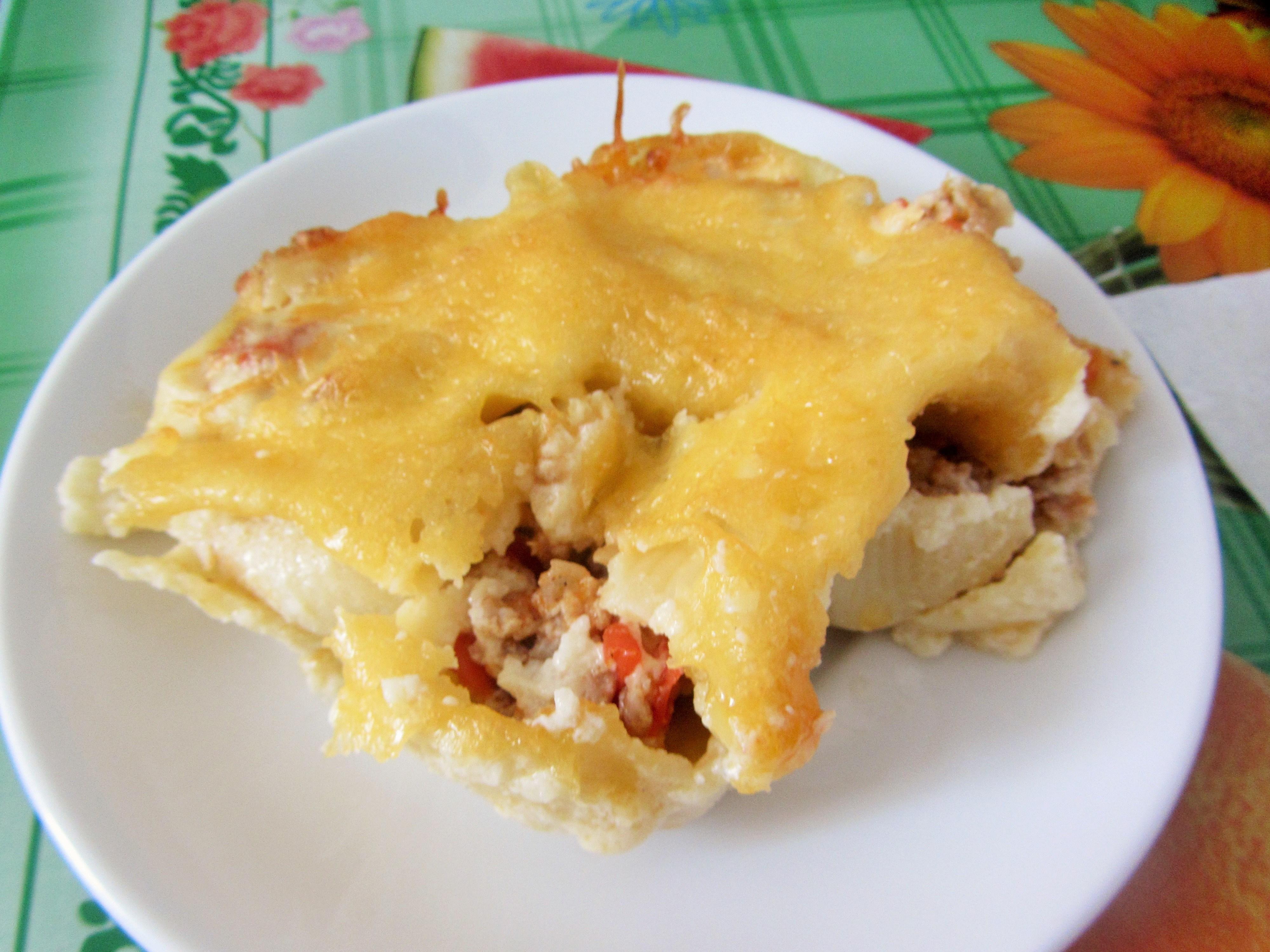 Каннеллони с грибами и сыром